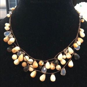 Jewelry - Abalone, quartz and smoky quartz necklace